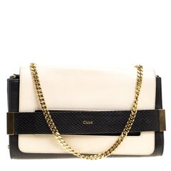 Chloe Black/Light Beige Leather Small Elle Clutch
