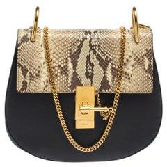 Chloe Black/Orange Leather and Suede Medium Drew Shoulder Bag