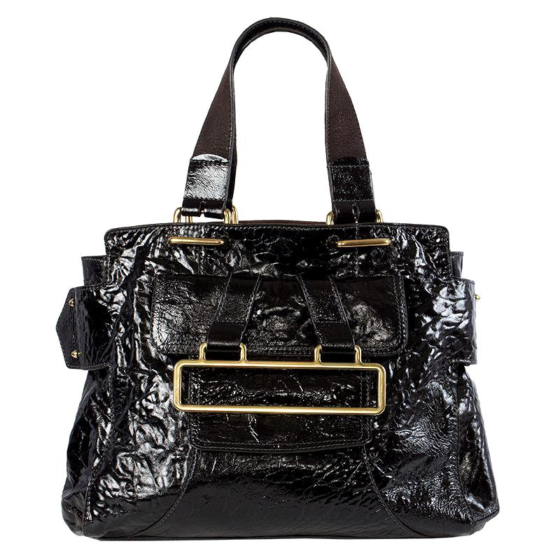 CHLOE black patent leather PADDY GM Shoulder Bag