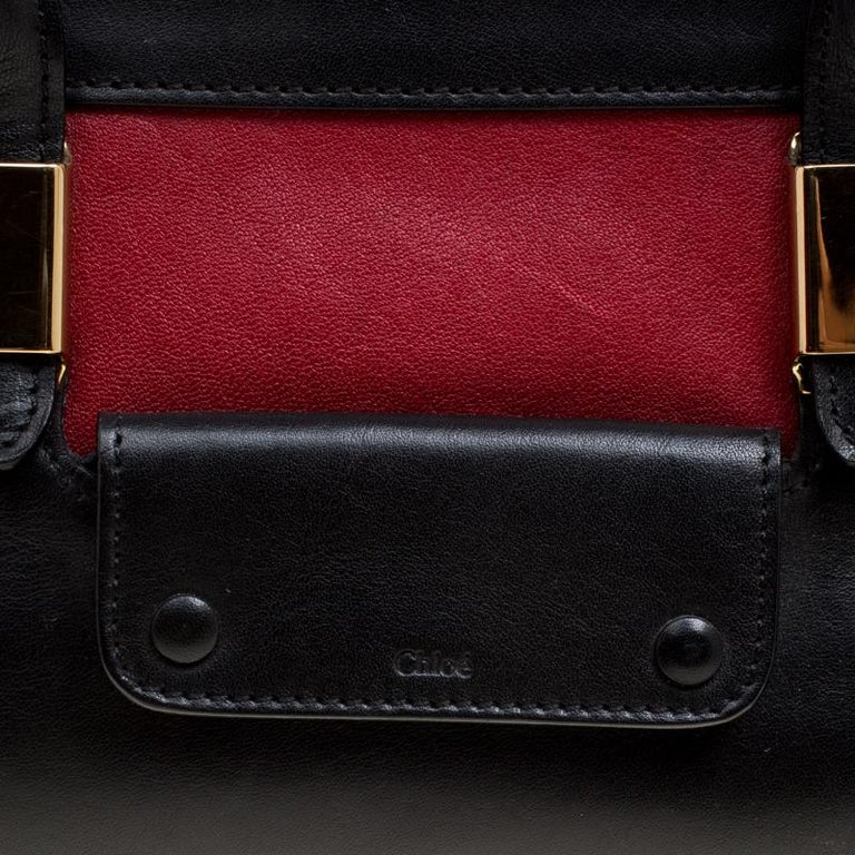 Chloe Black/Red Leather Small Alice Satchel For Sale 7