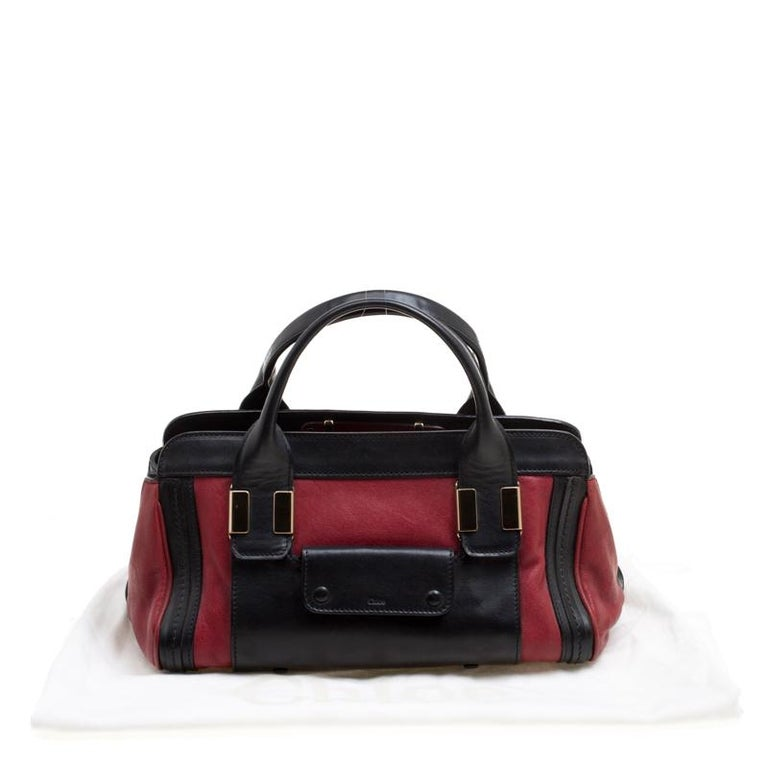 Chloe Black/Red Leather Small Alice Satchel For Sale 8