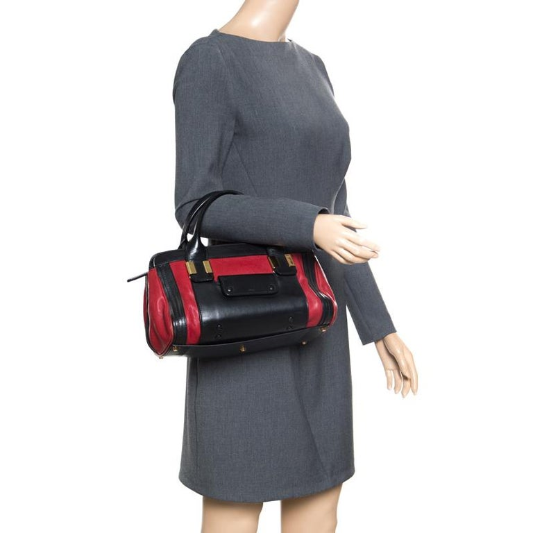 Chloe Black/Red Leather Small Alice Satchel In Good Condition For Sale In Dubai, Al Qouz 2