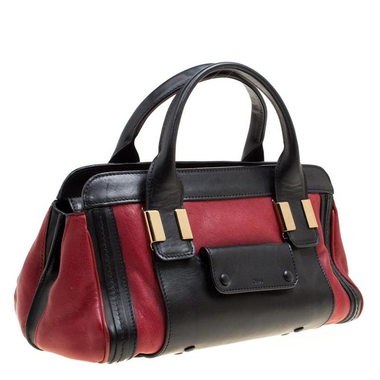 Women's Chloe Black/Red Leather Small Alice Satchel For Sale