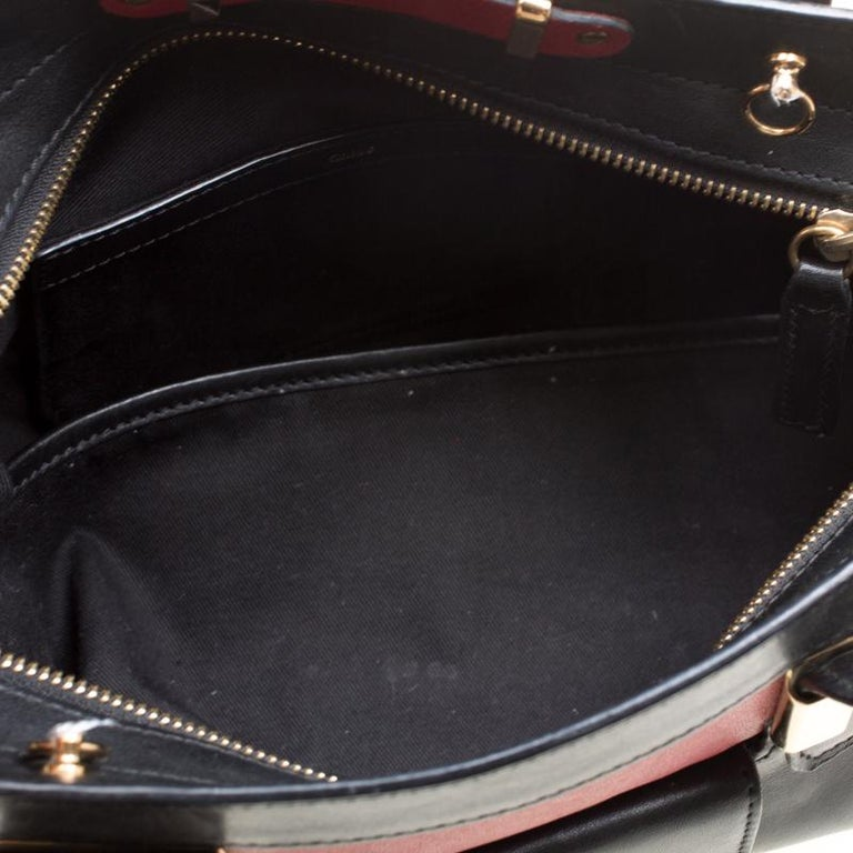 Chloe Black/Red Leather Small Alice Satchel For Sale 3