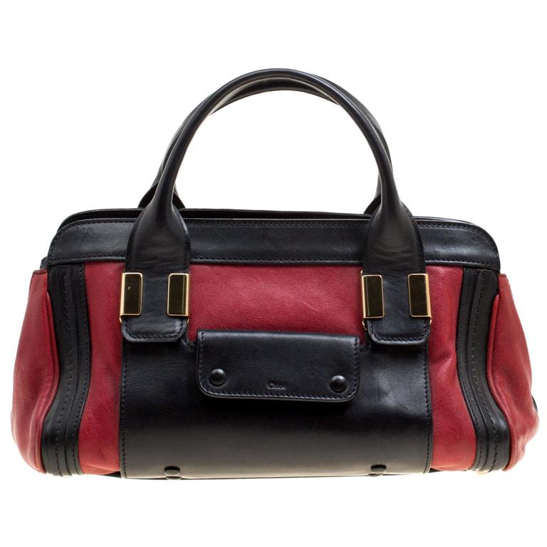 Chloe Black/Red Leather Small Alice Satchel For Sale