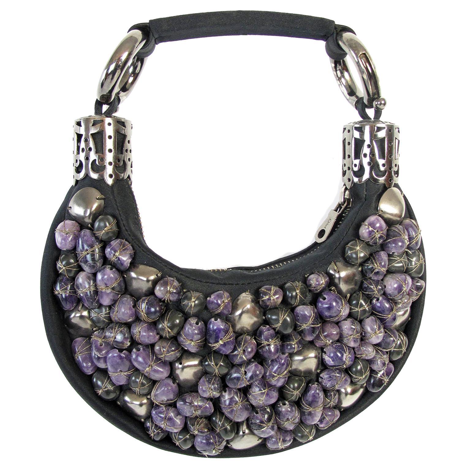 Chloe Black Satin Mini Bag with Stone Embellishments Phoebe Philo