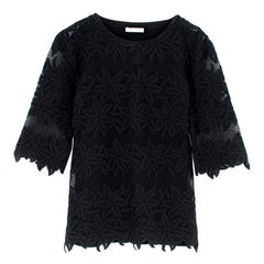 Chloe Black Semi-Sheer Floral Lace Embroidered Top - estimated SIZE S