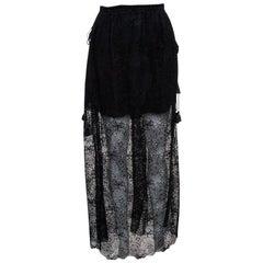 Chloe Black Sheer Cotton Lace Overlay Maxi Skirt M