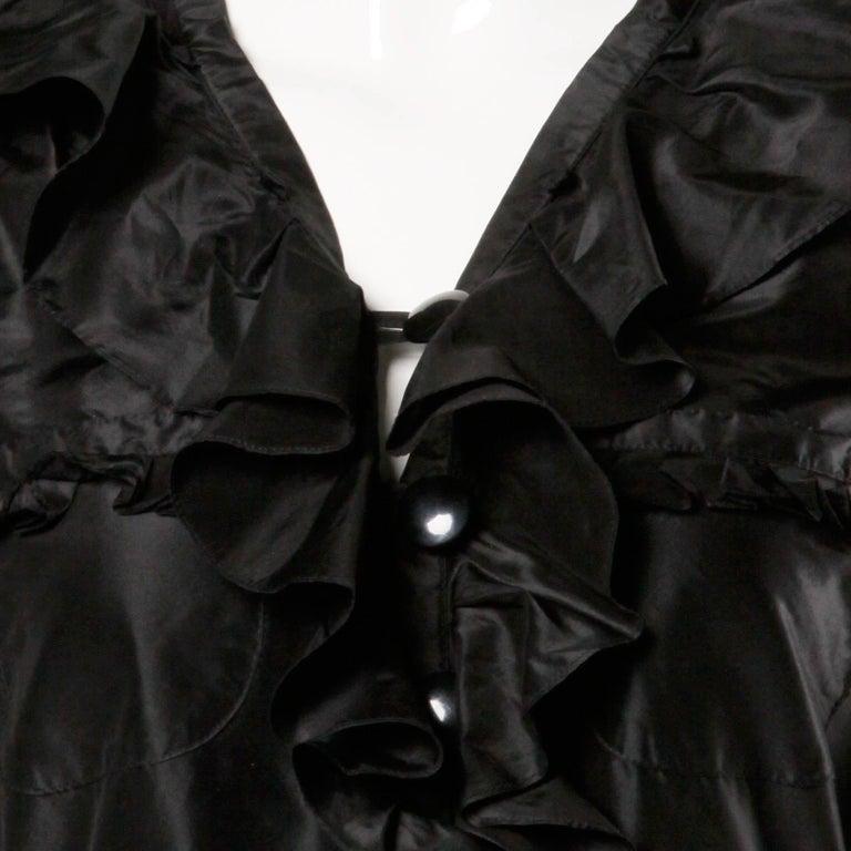 Women's Chloe Black Silk Taffeta Dress wth Ruffled Collar For Sale