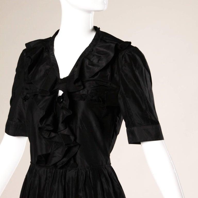 Chloe Black Silk Taffeta Dress wth Ruffled Collar For Sale 1