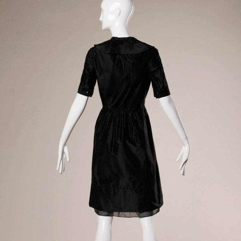 Chloe Black Silk Taffeta Dress wth Ruffled Collar For Sale 2