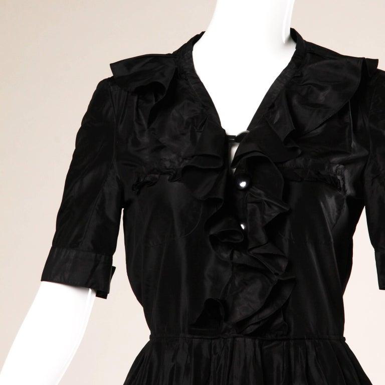 Chloe Black Silk Taffeta Dress wth Ruffled Collar For Sale 3