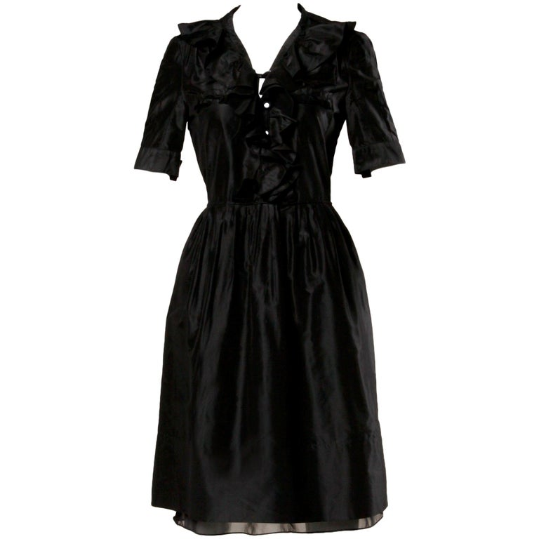 Chloe Black Silk Taffeta Dress wth Ruffled Collar For Sale