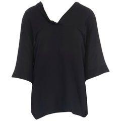 CHLOE black silk wool blend scoop neckline short sleeve boxy draped top FR34 XS