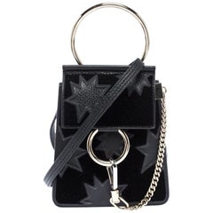 Chloe Black Star Applique Leather and Velvet Mini Faye Crossbody Bag