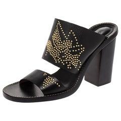 Chloe Black Studded Leather Slide Sandals Size 38.5