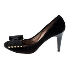 Chloé Black Suede Bow Pumps Size 39.5