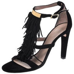 Chloe Black Suede Fringed Sandals Size 35.5