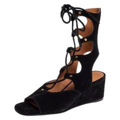 Chloe Black Suede Gladiator Foster Wedge Sandals Size 39