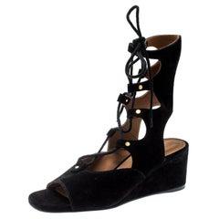 Chloe Black Suede Gladiator Wedge Sandals Size 39