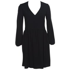 Chloe Black V-Neck Gathered Waist Long Sleeve Dress S