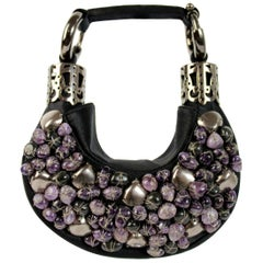 Chloe Black Violet Jewel Stones Satin Evening Clutch Bag