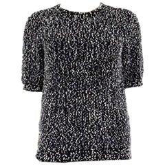 CHLOE black & white wool blend BOUCLE Short Sleeve Shirt Top T-Shirt S