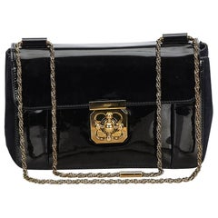 Chloe Black  with Gold Patent Leather Leather Calf Elsie France w/ Dust Bag