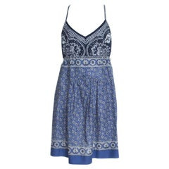 Chloe Blue and White Floral Printed Cotton Waist Tie Detail Dress M