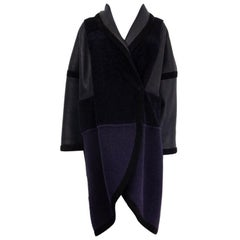 CHLOE blue & black OVERSIZED WOOL & SHEARLING Coat Jacket 40 M