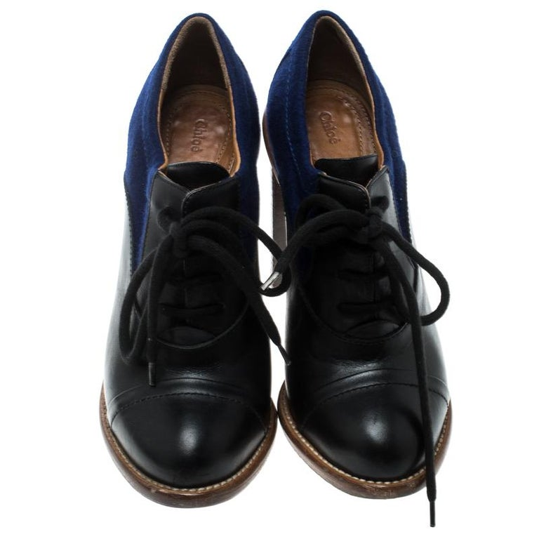 434dbb7c Chloe Blue Felt And Black Leather Lace Up Ankle Boots Size 37