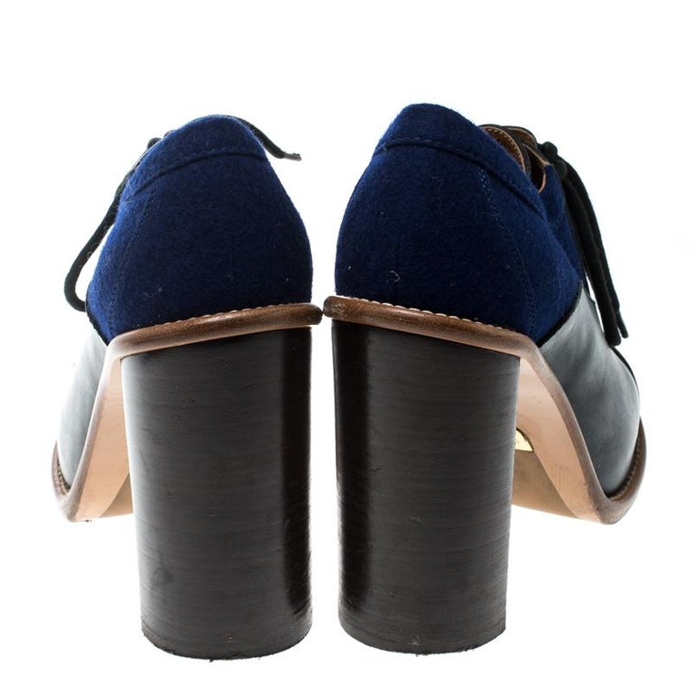 8981aed22e Chloe Blue Felt And Black Leather Lace Up Ankle Boots Size 37
