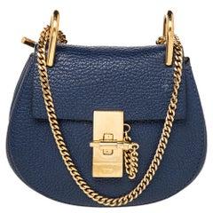 Chloe Blue Leather Drew Shoulder Bag