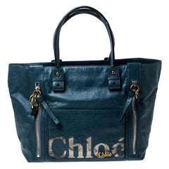 Chloe Blue Leather Eclipse Tote