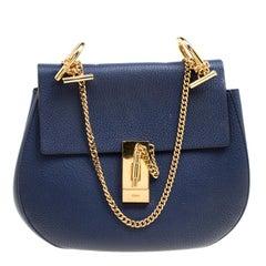Chloe Blue Leather Medium Drew Shoulder Bag