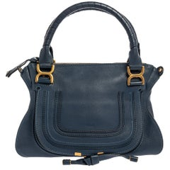 Chloe Blue Leather Medium Marcie Shoulder Bag