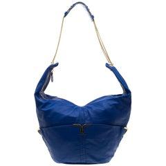 Chloe Blue Leather Milton Triple Chain Hobo