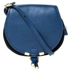 Chloe Blue Leather Mini Marcie Crossbody Bag
