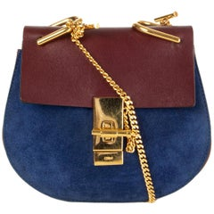 CHLOE blue suede & burgundy leather DREW MINI Shoulder Bag