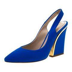 Chloe Blue Suede Slingback Sandals Size 38.5