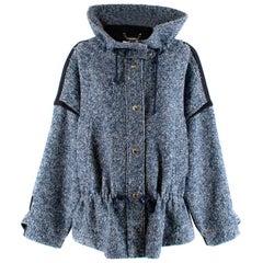 Chloe Blue & White Oversized Tweed Jacket XXS 34