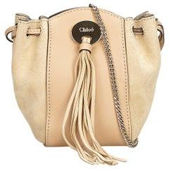 a4f70c6a2d Chloe Brown Beige Suede Leather Drawstring Crossbody France w  Dust Bag