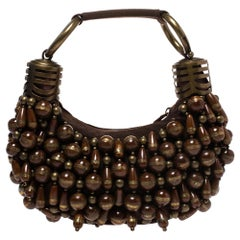 Chloe Brown Canvas Beads Embellished Hobo