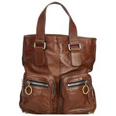 Chloe Brown Dark Brown Leather Betty Tote Bag Italy