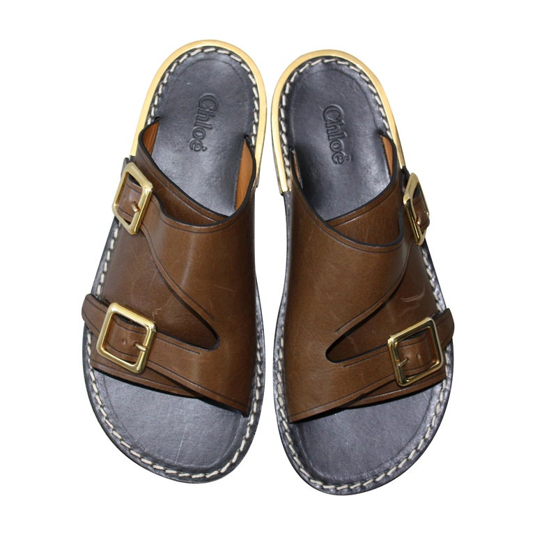 Chloe Brown Double Buckle Sandals Size 36 For Sale