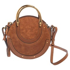 Chloe Brown Leather and Suede Small Pixie Shoulder Bag