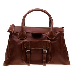 Chloe Brown Leather Edith Shopper Tote