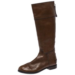 Chloe Brown Leather Knee Length Flat Boots Size 42