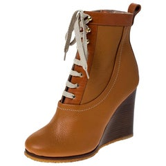 Chloe Brown Leather Lace Up Wedge Ankle Boots Size 37.5