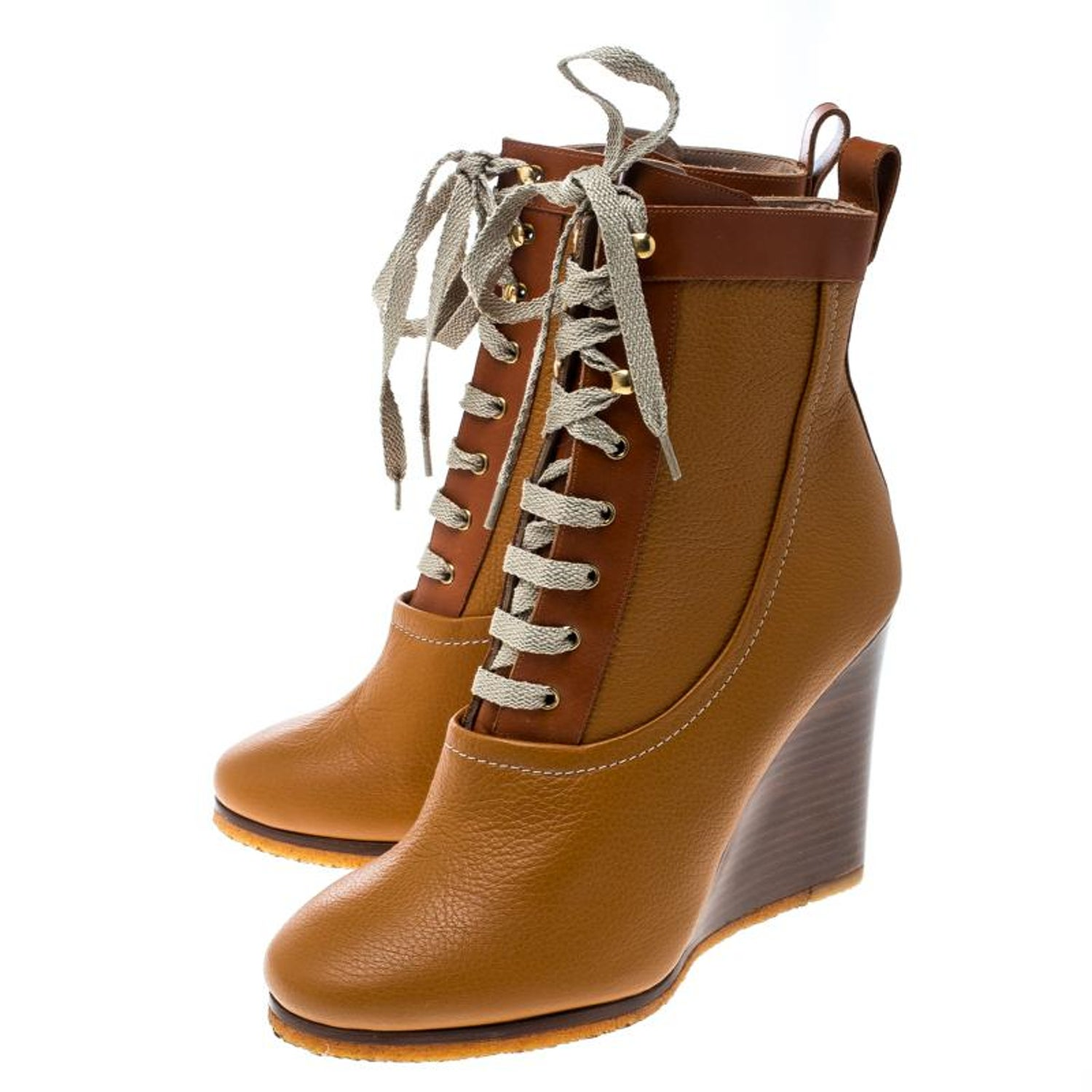 3d18041fce688 Chloe Brown Leather Lace Up Wedge Ankle Boots Size 38 For Sale at 1stdibs